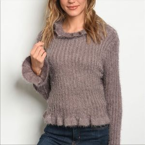 Sweaters - Mocha Fuzzy Ruffle Bell Sleeves Sweater